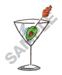 MARTINI GLASS W/OLIVE embroidery design
