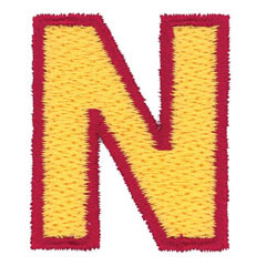 2 Color Alphabet N embroidery design