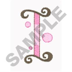 LETTER I embroidery design