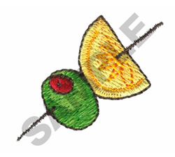 LEMON AND OLIVE ON A STICK embroidery design