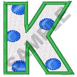 POLKA DOT ALPHABET K embroidery design