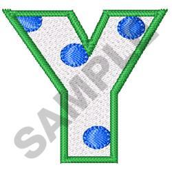 POLKA DOT ALPHABET Y embroidery design