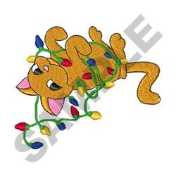 CAT IN CHRISTMAS LIGHTS embroidery design
