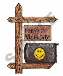 HAPPY FACE MAILBOX embroidery design