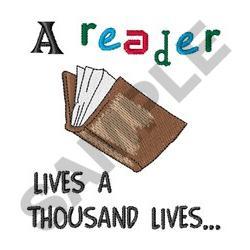 A READER LIVES embroidery design