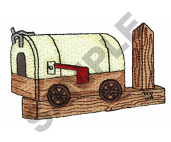 WESTERN WAGON MAILBOX embroidery design