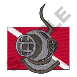 DIVE HELMET AND FLAG embroidery design