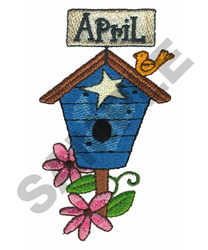 APRIL WITH BIRDHOUSE embroidery design