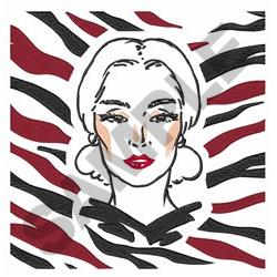 WOMAN FRAMED ANIMAL PRINT embroidery design
