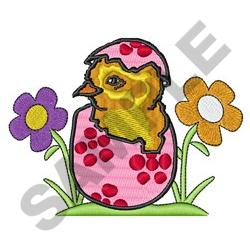 EASTER CHICK IN FLOWERS embroidery design