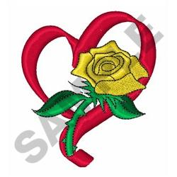 RIBBON HEART ROSE embroidery design