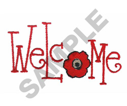 WELCOME WITH FLOWER embroidery design