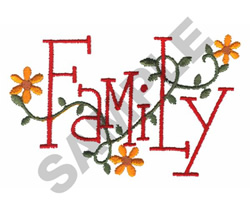 FAMILY WITH VINES AND FLOWERS embroidery design