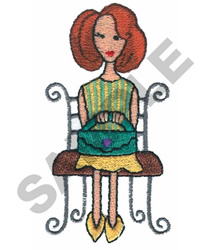 LADY SITTING DOWN embroidery design