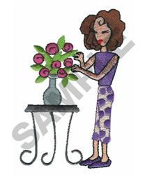 LADY WITH FLOWER VASE embroidery design