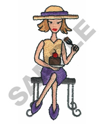 LADY EATING CAKE embroidery design