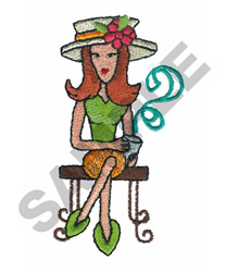 LADY DRINKING COFFEE embroidery design