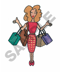 LADY WITH BAGS embroidery design