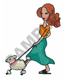 LADY WALKING WITH DOG embroidery design