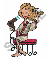 LADY BLOW DRYING HAIR embroidery design