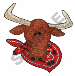 STEER IN BANDANA embroidery design