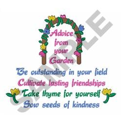 ADVICE FROM YOUR GARDEN embroidery design