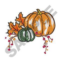 Fall Foliage And Pumpkins embroidery design