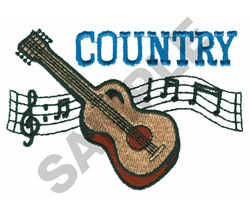 COUNTRY MUSIC, GUITAR embroidery design