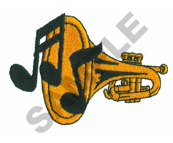 TRUMPET WITH NOTES embroidery design