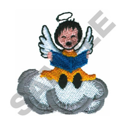 GIRL ANGEL IN CLOUD embroidery design