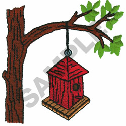 BIRDHOUSE HANGING ON TREE embroidery design
