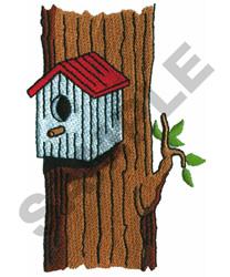 BIRDHOUSE ON TREE embroidery design