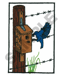 BIRDHOUSE, BIRD, AND BARBWIRE embroidery design