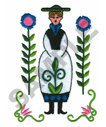 WOMAN WITH FLOWERS embroidery design