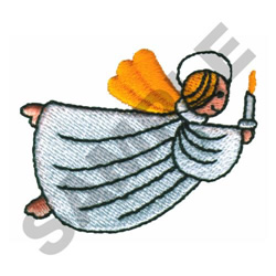 ANGEL HOLDING CANDLE embroidery design