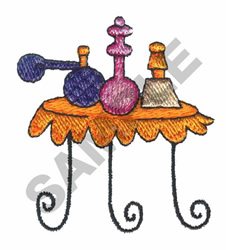 PERFUMES AND TABLE embroidery design