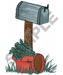 MAILBOX WITH PLANT embroidery design