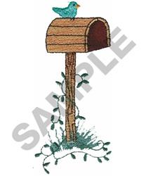 MAILBOX, VINE AND BIRD embroidery design