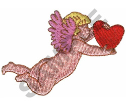CUPID CARRYING A HEART embroidery design
