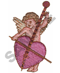 CUPID W/INSTRUMENT embroidery design