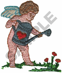 CUPID W/WATERPAIL embroidery design