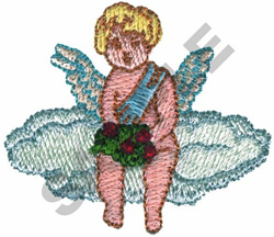 CUPID SITTING ON CLOUD embroidery design