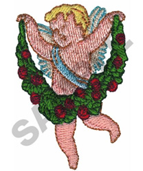 CUPID W/ROSE GARLAND embroidery design