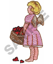 CUPID W/BASKET OF HEARTS embroidery design