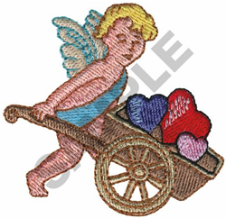 CUPID W/WHEELBARROW embroidery design