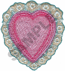 HEART W/ LACE embroidery design