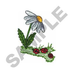 DAISY W/ LADYBUGS embroidery design