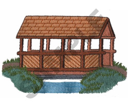 COVERED WOODEN BRIDGE embroidery design