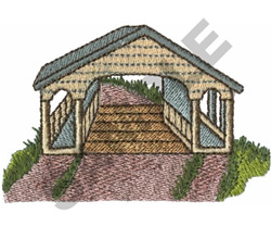 COVERED BRIDGE WITH WALKWAYS embroidery design