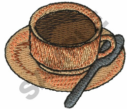 COFFEE CUP AND SPOON embroidery design